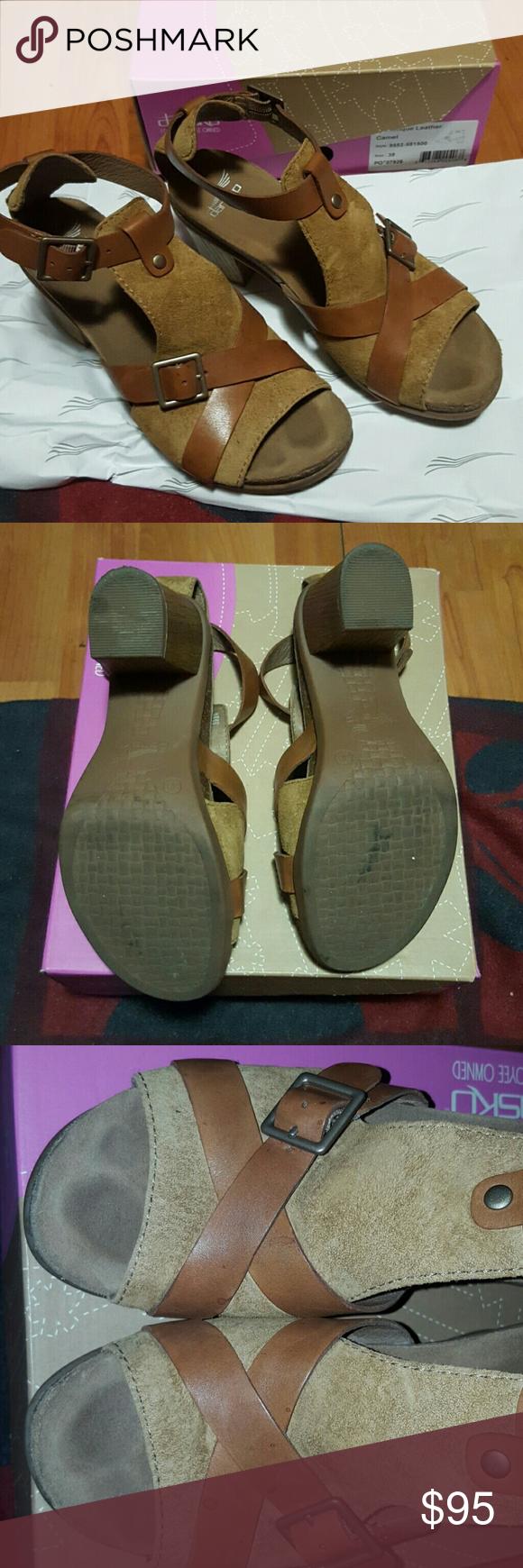 Dansko : Dominique Dansko cork comfortable sandal heals. Worn 3-4 times. Has little stains Dansko Shoes Sandals