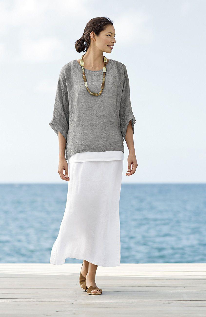 82b169a05 Pure Jill long linen skirt at J.Jill kimono is grey onyx/natural. Linen  skirt in white.