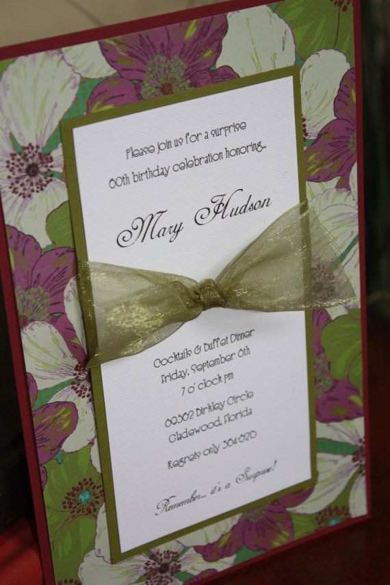 Handmade Floral Birthday Invitations By EasyMadeInvitations 250