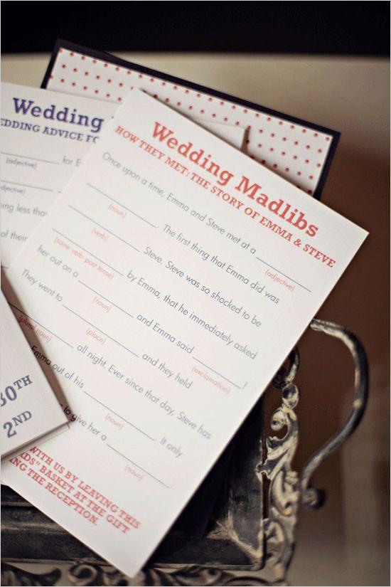 Ideia divertida, para os convidados completarem a história dos noivos.
