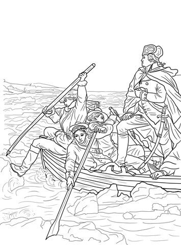 George Washington Crossing the Delaware coloring page from