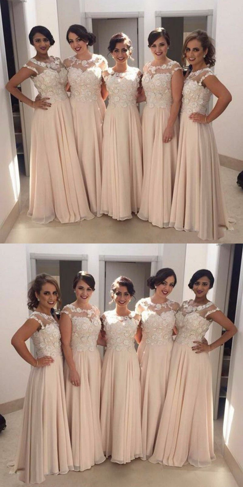 Aline round neck cap sleeves pearl pink chiffon bridesmaid dress