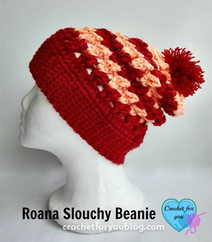 Roana Slouchy Beanie - free crochet pattern | Tejido