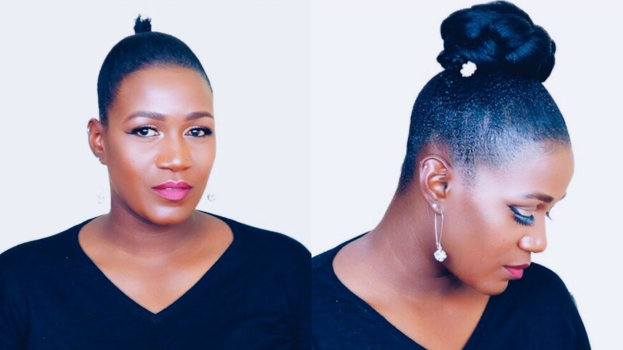 How To Sleek High Bun On Short Natural Hair Natural Hair Styles Short Natural Hair Styles Hair Videos