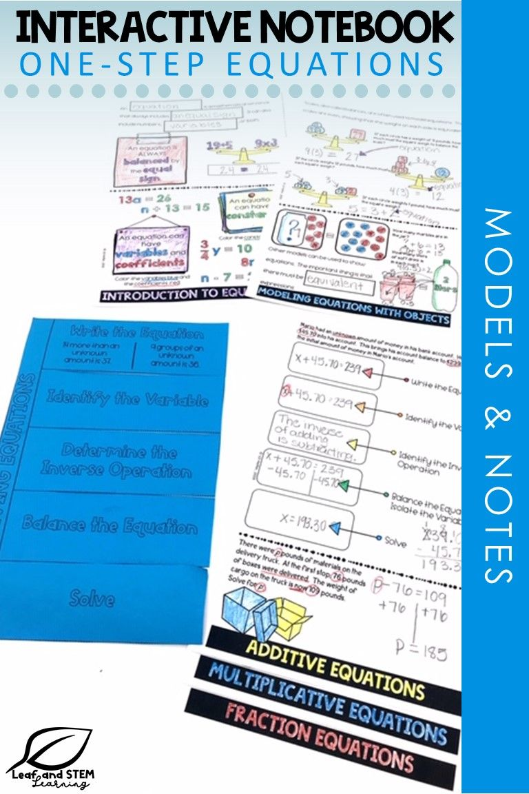 OneStep Equations Interactive Notebook Set One step