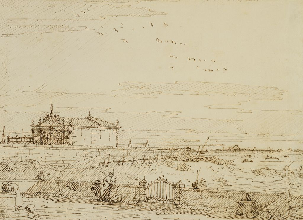 Canaletto, A pavilion in a walled garden, Venice, c.1740-45, Pen and ink. Verso: Pen and ink, over pencil, 17.6 x 24.3 cm
