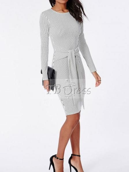 Striped Lace up Women's Pencil Dress(Plus Size Available)