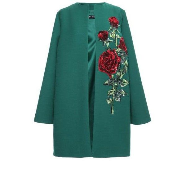 Dolce & Gabbana Double Crepe Sequin Rose Embroidered Coat (£4,725) ❤ liked on Polyvore featuring outerwear, coats, jackets, dolce gabbana coat, green coat, embroidered coat, dolce&gabbana y long sleeve coat