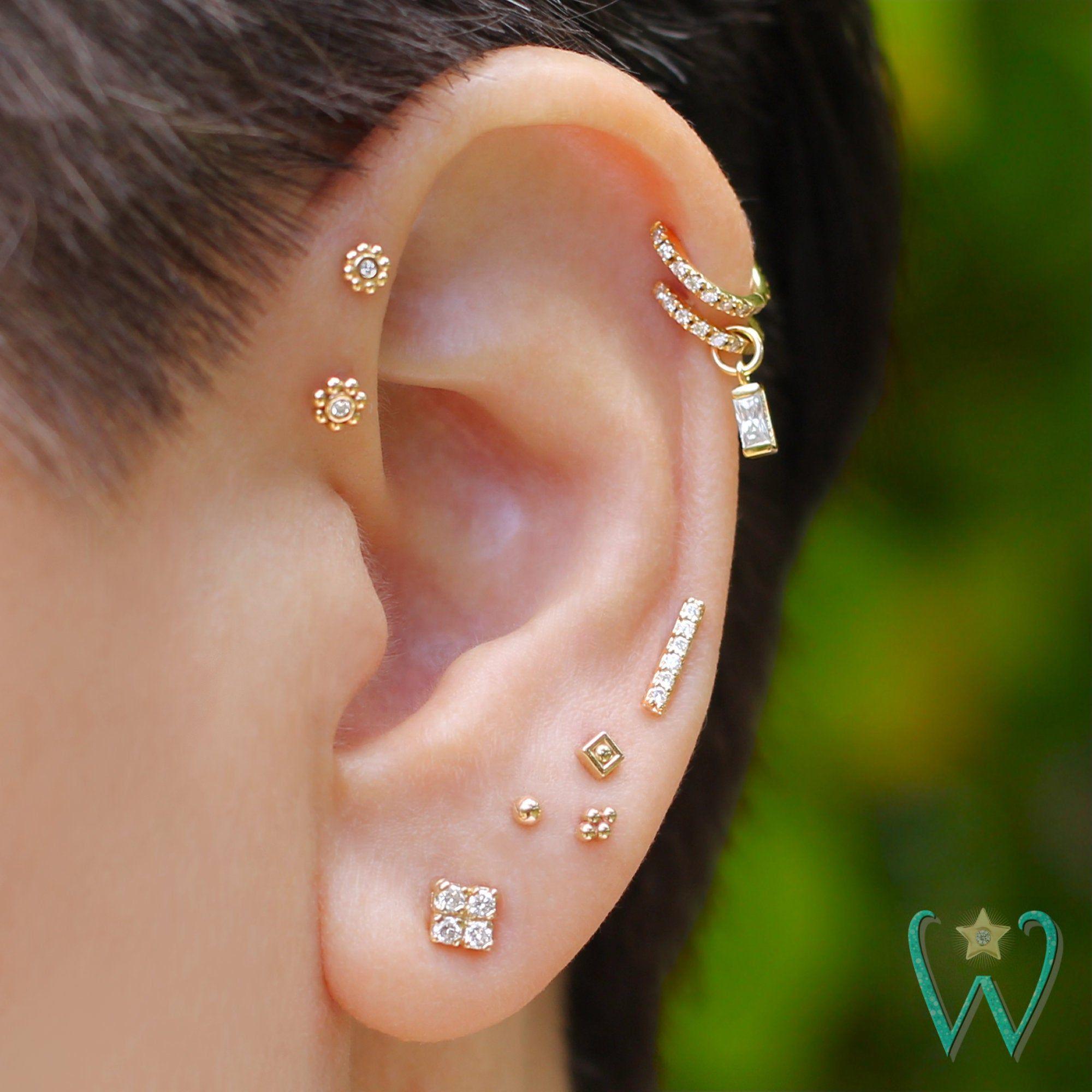 Lab Diamond Baguette Earring Charm Cartilage Earring | Etsy