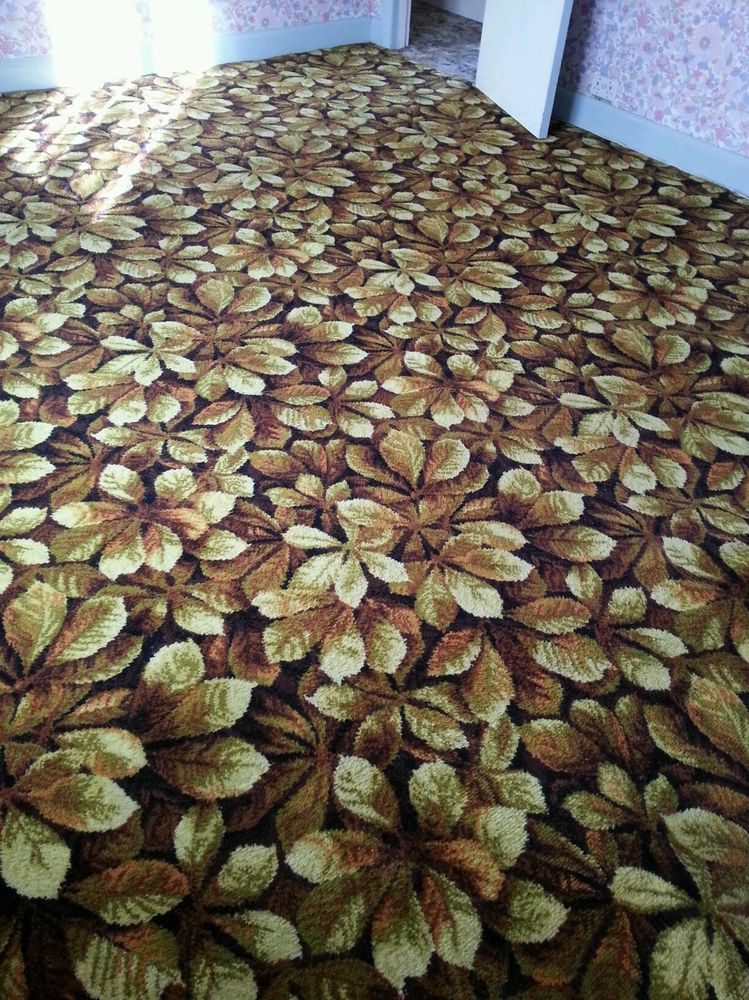 Large patterned 70s seventies carpet horse chestnut ...