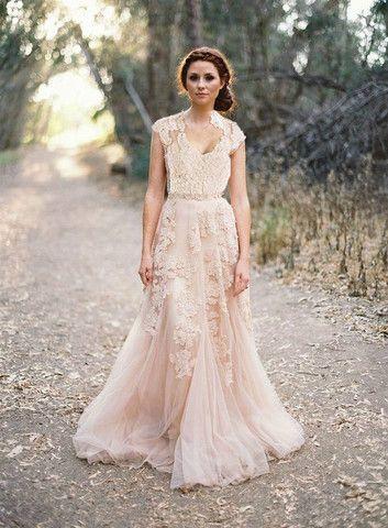 Custom Whimsical Blush Lace Wedding Dress For Korynne