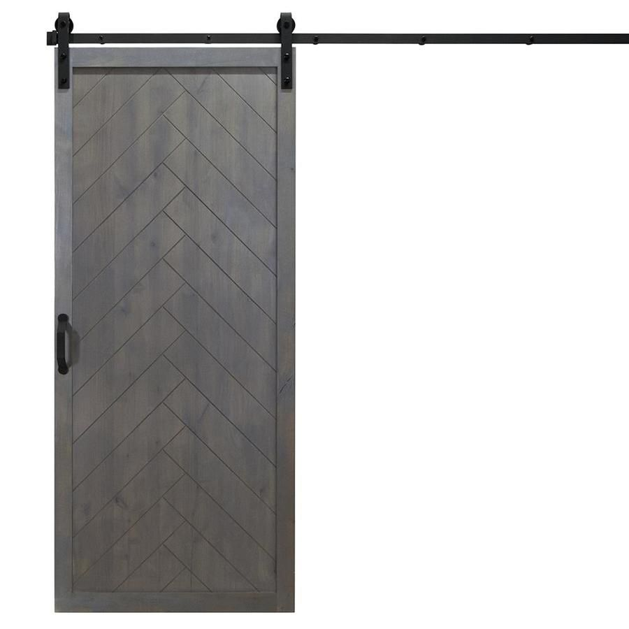 Dogberry Herringbone Ash Gray Stained 1 Panel Wood Knotty Alder Barn Door Hardware Included Co Barn Style Doors Barn Doors Sliding Interior Sliding Barn Doors