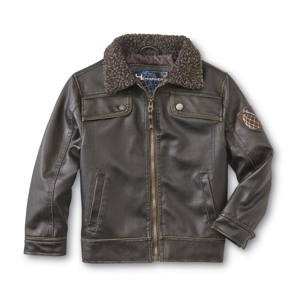 Hemisphere bomber jacket brown Synthetic leather boy's
