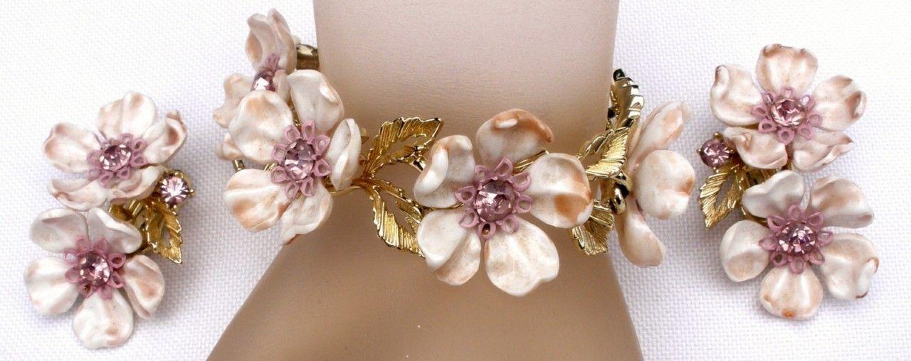 Signed Lisner Demi Set Lilac Flower Rhinestone Bracelet Earrings Vintage Floral | eBay