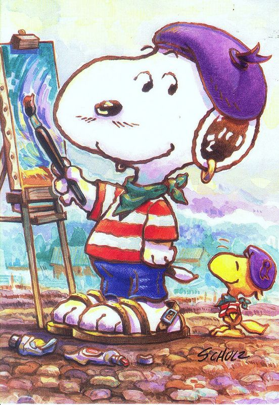 Artists who paint snoopy from peanuts castoon strip