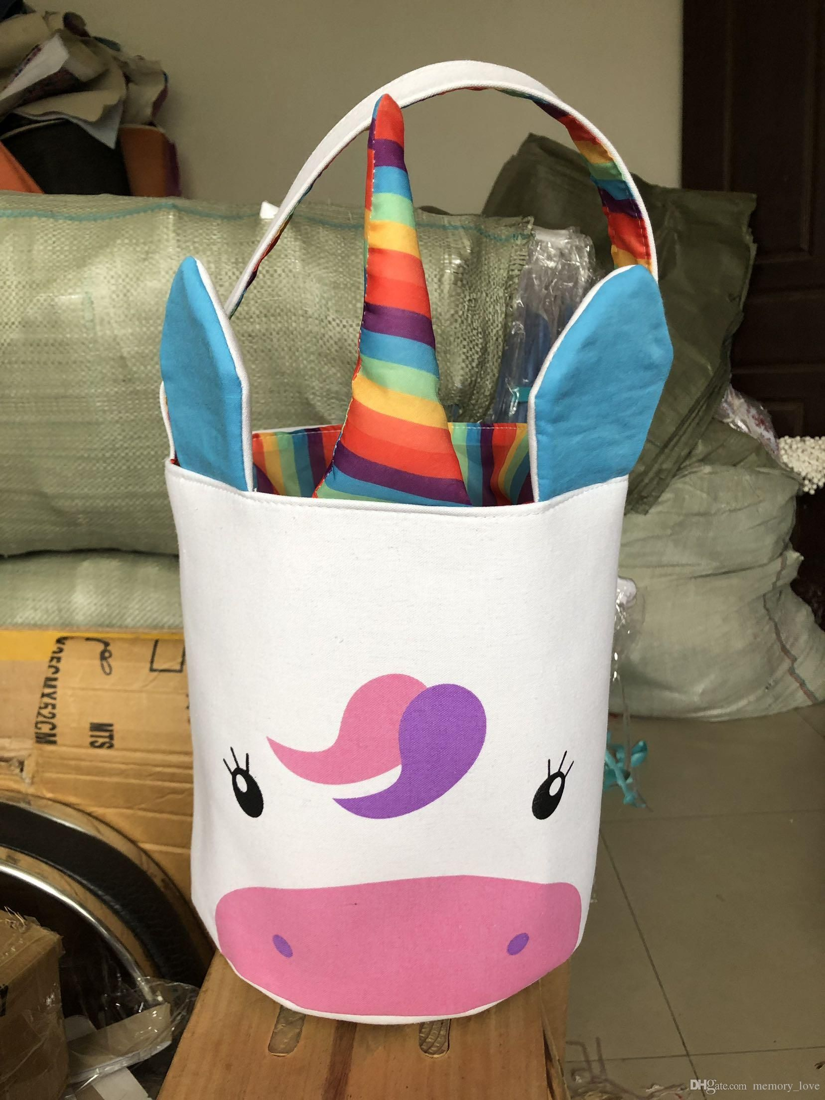 2019 easter basket large canvas unicorn pattern colored