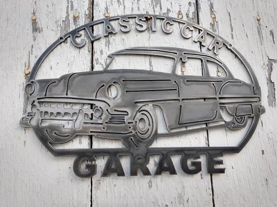 1953 Classic Car Garage Metal Art Sign Man Cave Kustom Hot Rod Hand Drawn Artwork USA