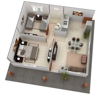 Estandar 49 m2 Wohnung planen, Grundriss wohnung, Haus pläne