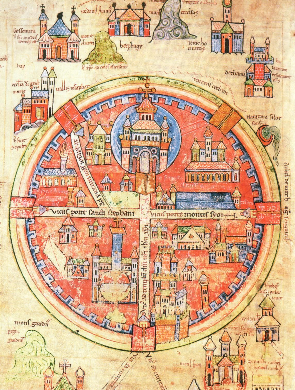Medieval map of jerusalem with the cities of gethsemane jericho medieval map of jerusalem with the cities of gethsemane jericho bethany and hebron miniature from robert the monks history of the first crusade gumiabroncs Image collections