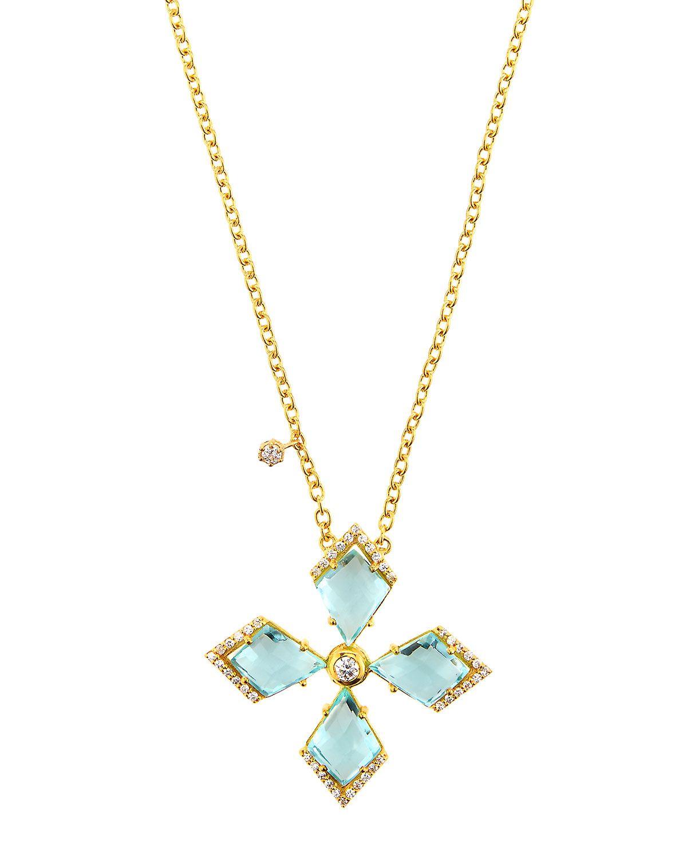 Indulgems Blue Quartz Kite Pave Necklace, Women's, LIGHT BLUE