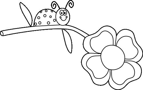 Black And White Ladybug On A Flower Clip Art Black And White Ladybug On A Flower Image White Ladybug Ladybug Flower Clipart