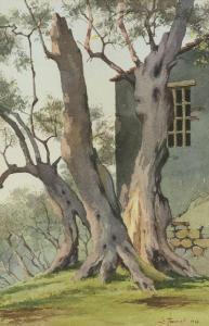 """Leone Tommasi (Pietrasanta 1903 - Pietrasanta 1965); """"Collina di Monteggiori"""", 1958. acquarello su carta, cm. 60 x 39. firma e data in basso a dx."""