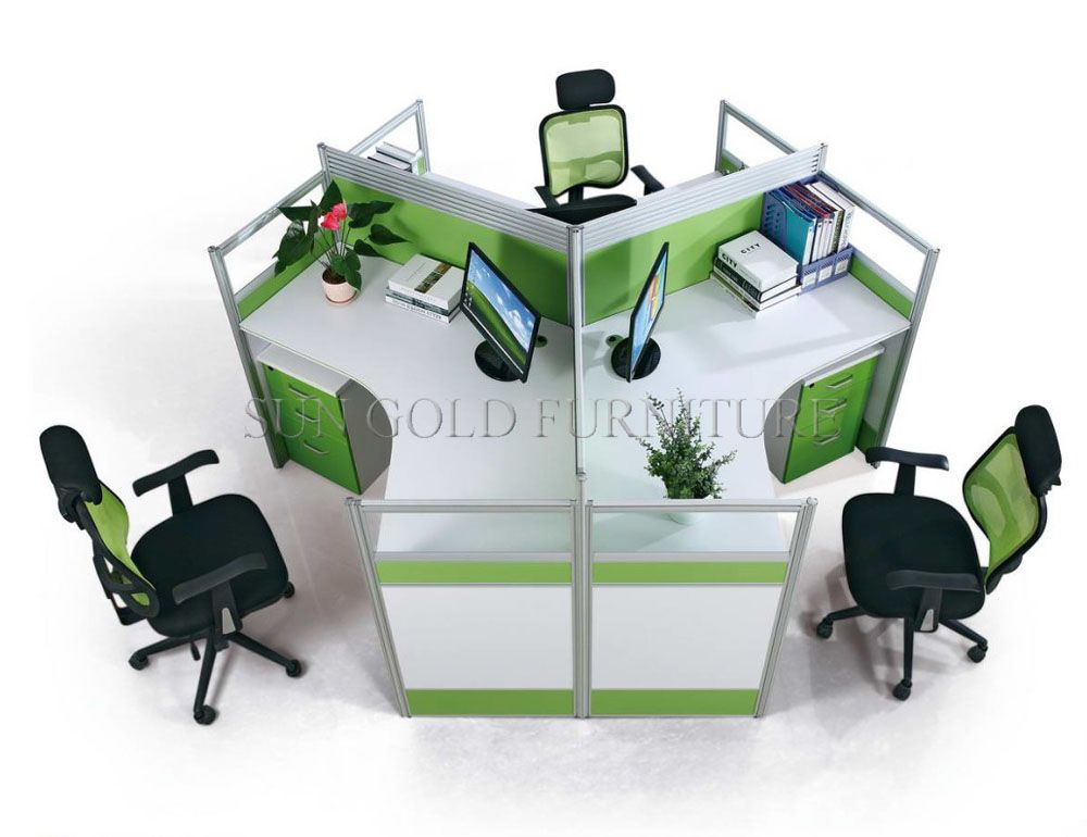 Modern Office Furniture 3 Person Cubicle Workstation