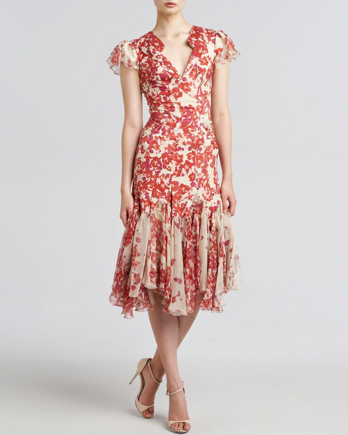 Zac Posen Hibiscus-Print Flared Dress - Neiman Marcus