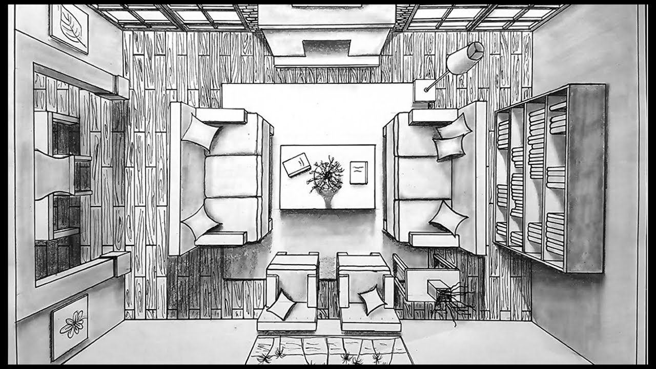 Drawing A Living Room In One Point Perspective Birds Eye