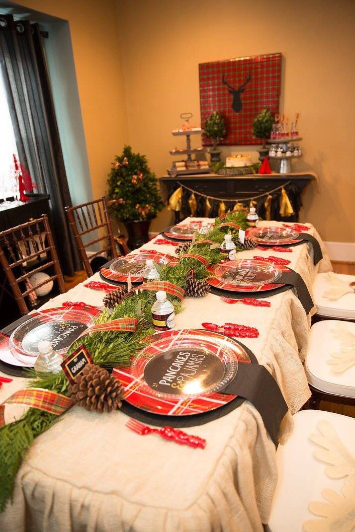 Pajama Christmas Party Ideas Part - 32: Pancakes And Pajamas Holiday Party, Christmas Tablescapes / Party Ideas