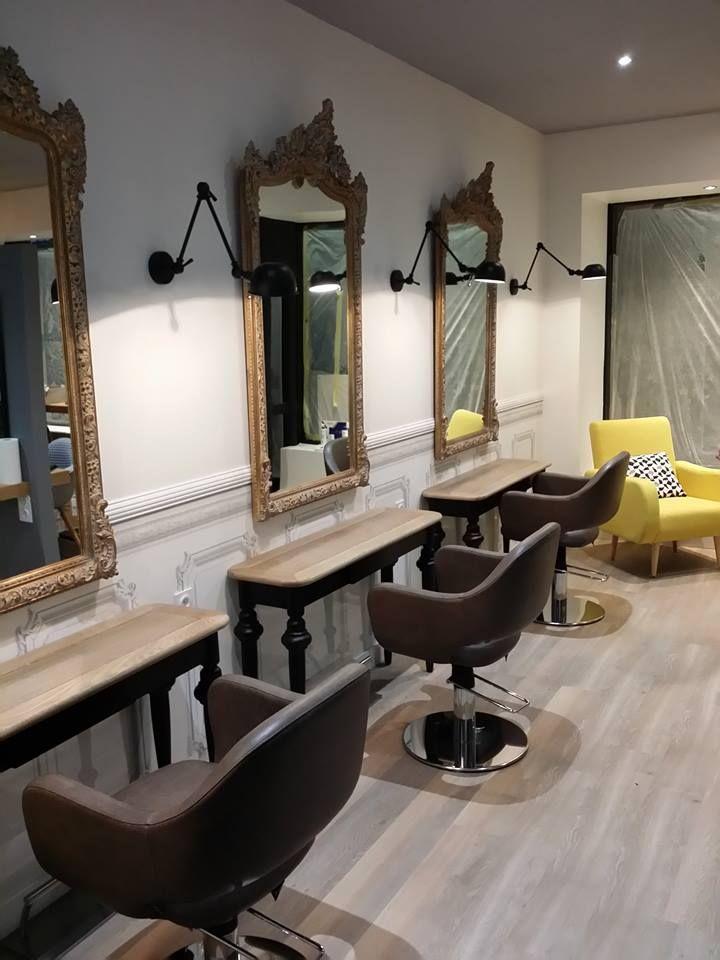 Salon de coiffure Peinture murs et cloisons Pose papier peint - Poser Papier A Peindre