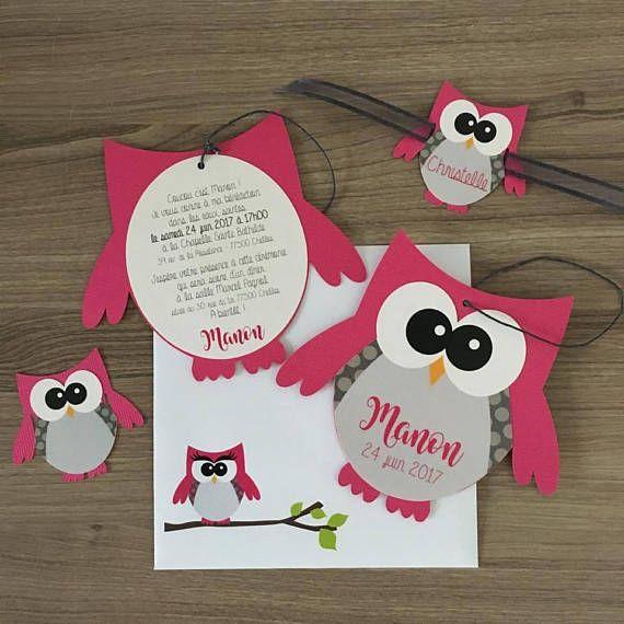 10 invitation announcement baptism owl fuchsia chouette faire part bapteme faire soi meme. Black Bedroom Furniture Sets. Home Design Ideas