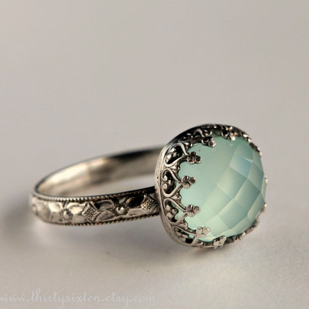 Aqua Chalcedony Tail Ring In Sterling Silver 114 00 Via Etsy