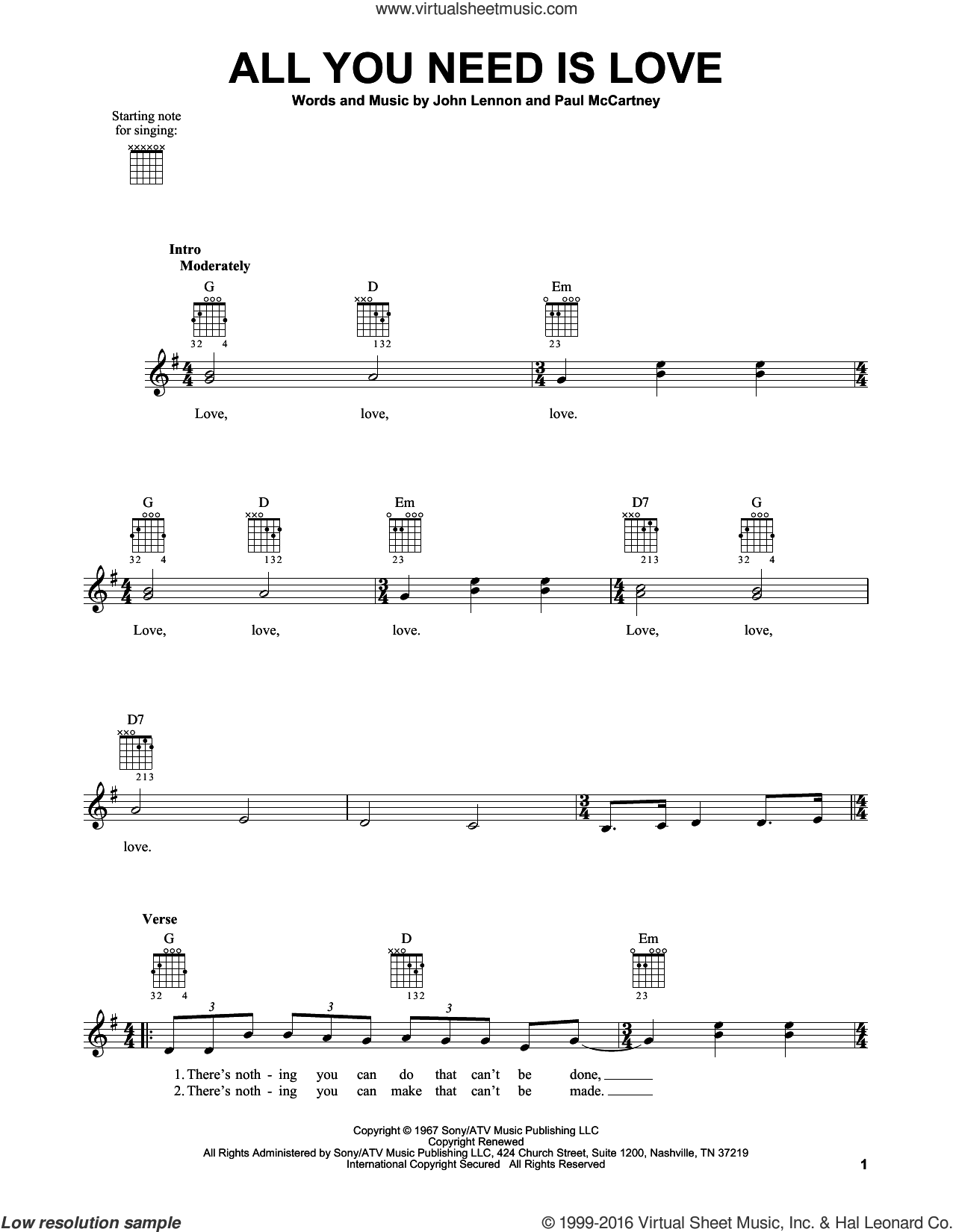 Beatles - All You Need Is Love sheet music (easy) for guitar