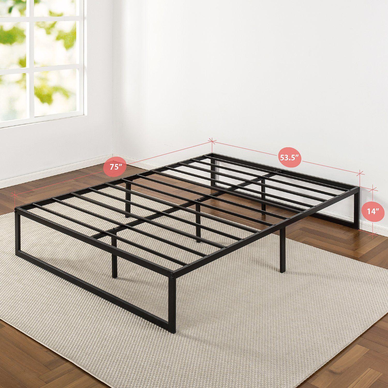 zinus 14 inch metal platform bed frame with steel slat support