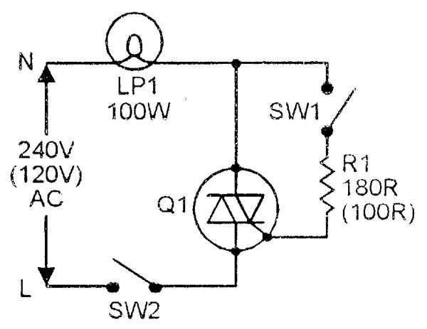 triac simple ac power switch with resistive  lamp  load