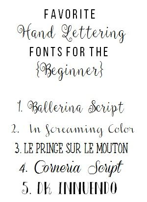 Favorite Hand Lettering Fonts For The Beginner  Freebies