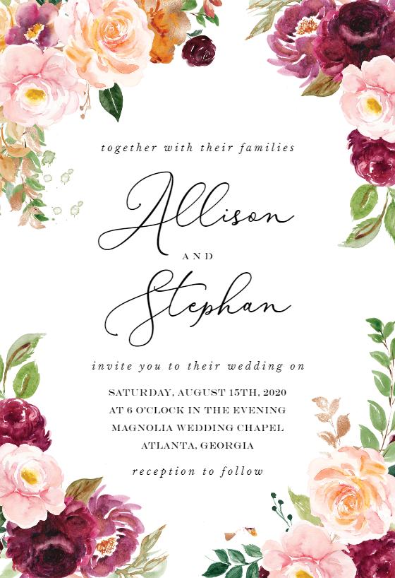 autumnal maple  wedding invitation template  greetings