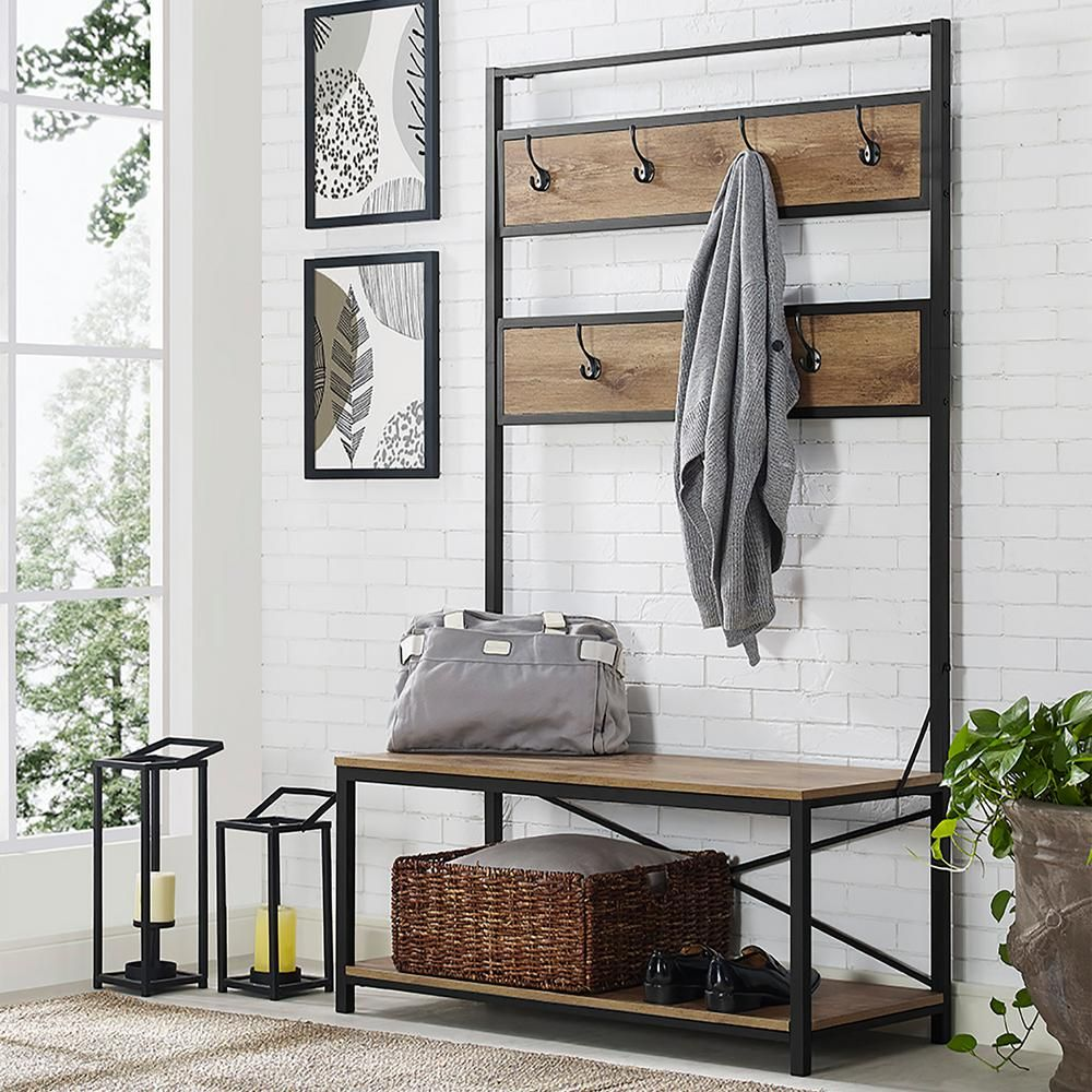 Walker Edison Furniture Company 72 In. Industrial Metal And Wood Hall Tree    Barnwood HDT72MWBW   The Home Depot