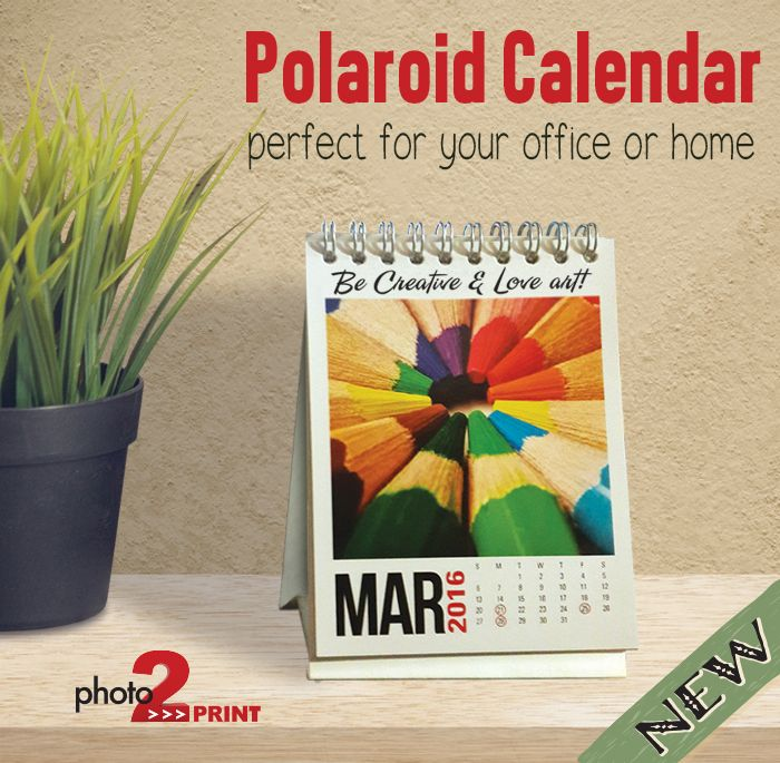 new product this personalised polaroid mini desk calendar is the