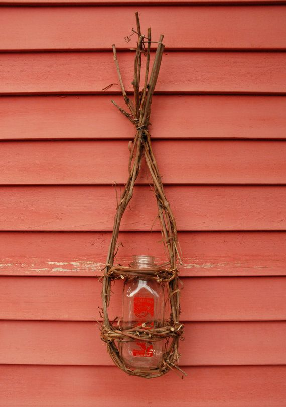 Grapevine Wall Basket Milk Bottle Planter Vase by colonialcrafts, $25.00
