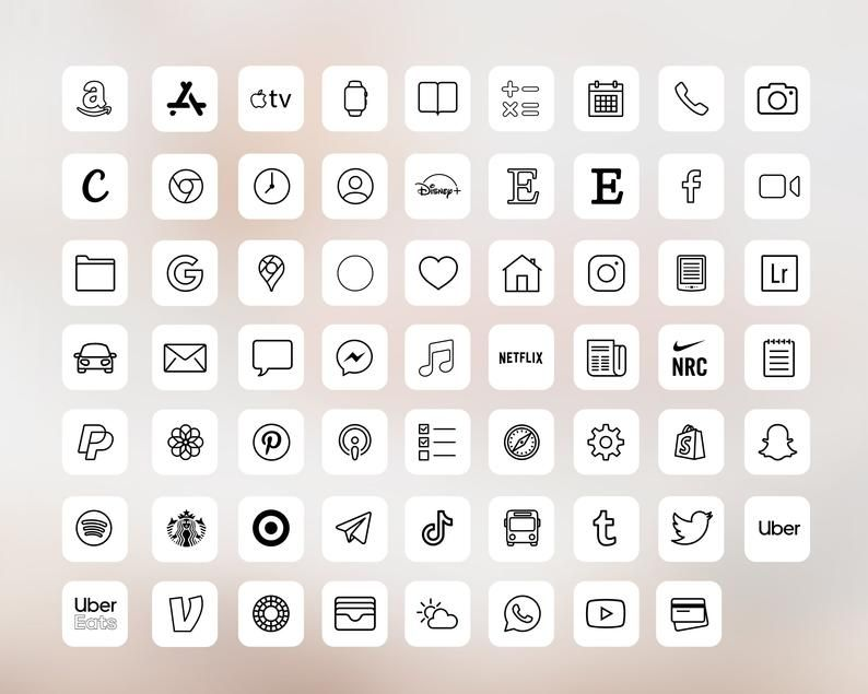 IOS14 App Icons iPhone Aesthetic 62 App Pack ios14