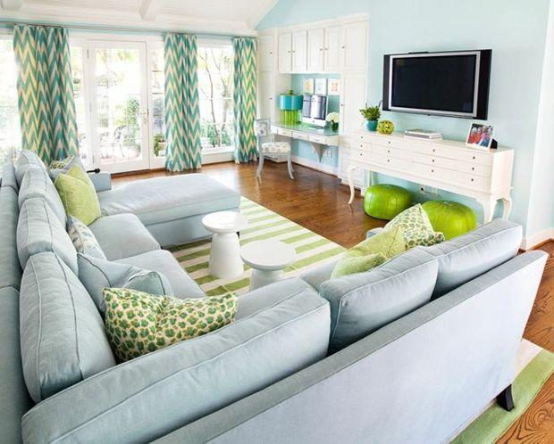 Ideen Hellblau Wände Weiße Möbel Teppich Lindgrün Weiße Streifen