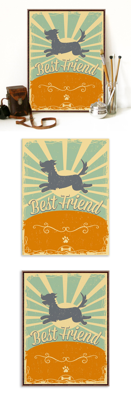 Modern Vintage Retro Dog Friendship A3 Large Poster Print Pet ...