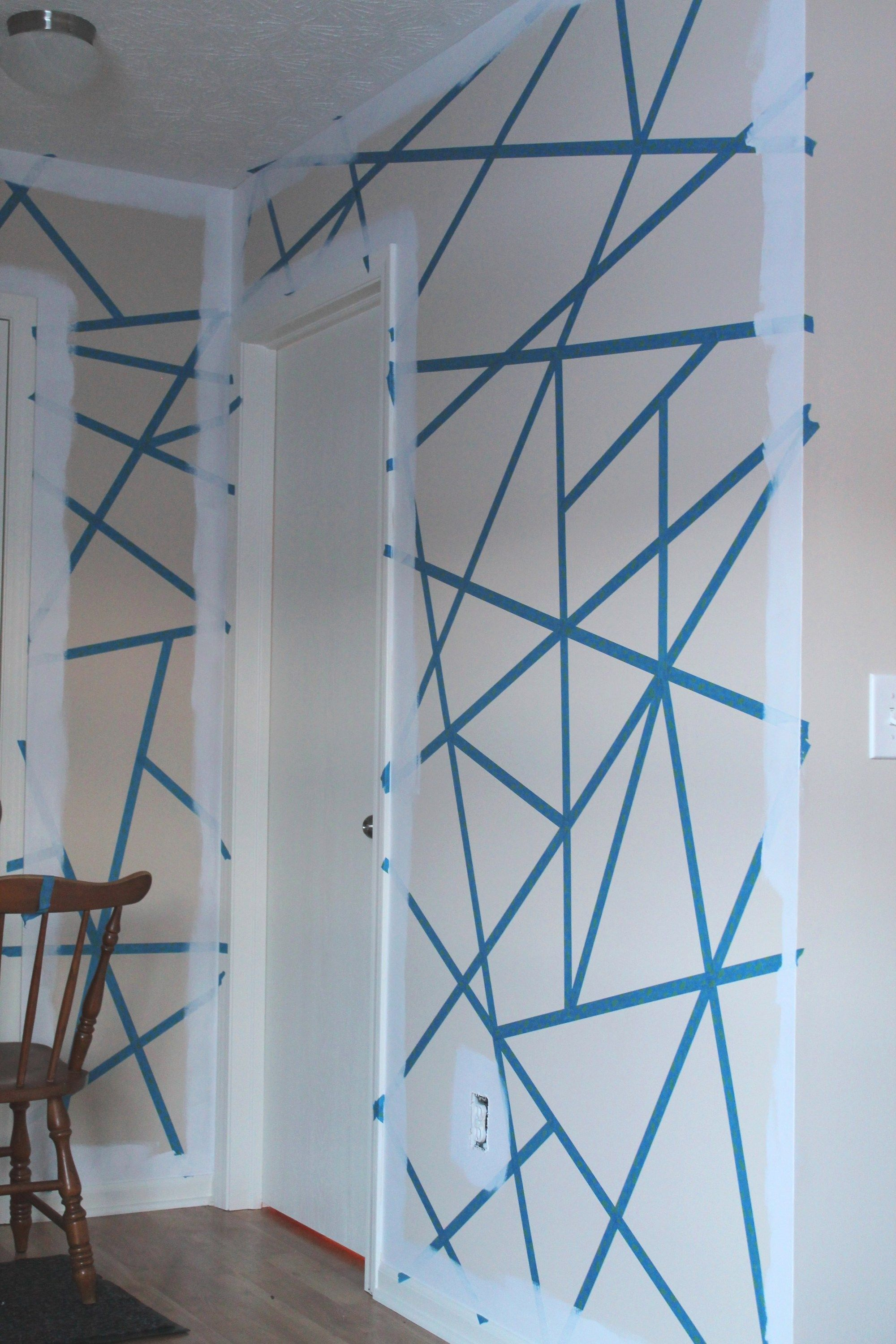 Diy Painter S Tape Accent Wall The Spiffy Cookie Geometric Wall Paint Wall Paint Patterns Diy Living Room Paint