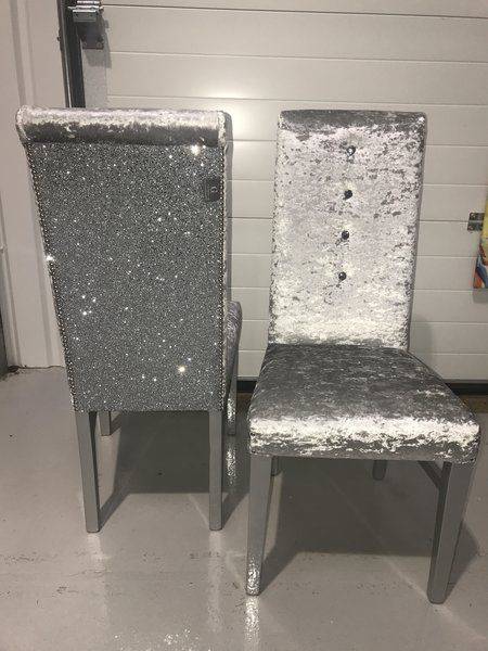 Silver Velvet And Glitter Back Dining Room Chair Chairs