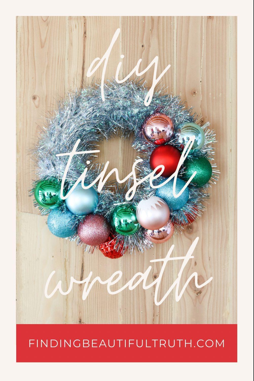 Easy Diy Tinsel Ornament Wreath Ornament Wreath Diy Christmas Decorations Wreaths Diy Wreath