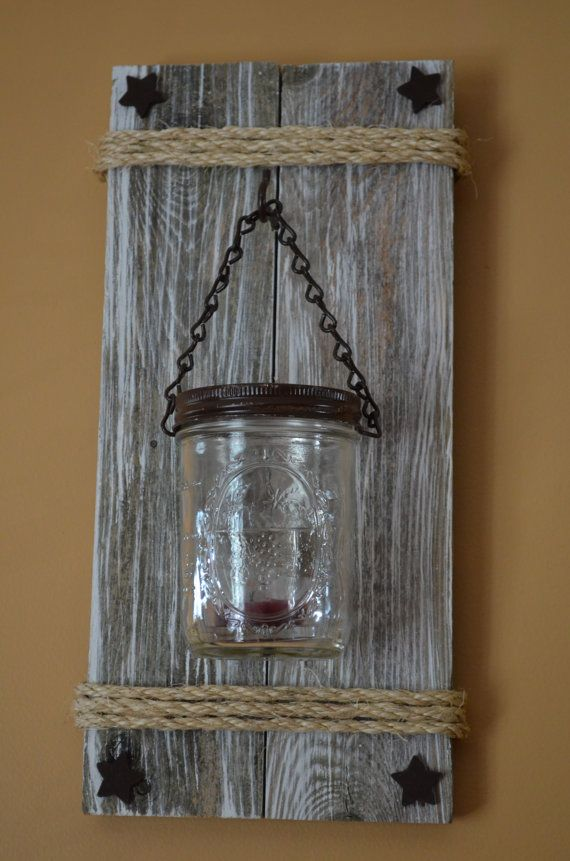 rustic mason jar wall sconce by poppabcreations on etsy diy pinterest decora o madeira. Black Bedroom Furniture Sets. Home Design Ideas