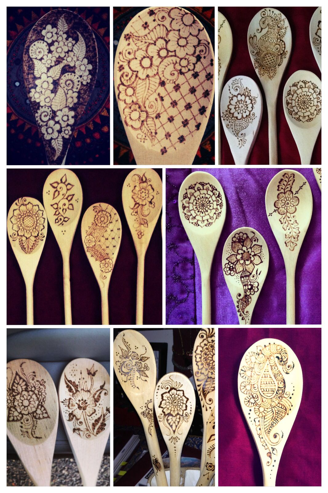 Just so in love with all these spoons I made recently.   Hope you are cooking with one in the new year!                http://www.etsy.com/people/thehennaladydotcom  #pyrography #mehndi #woodburned