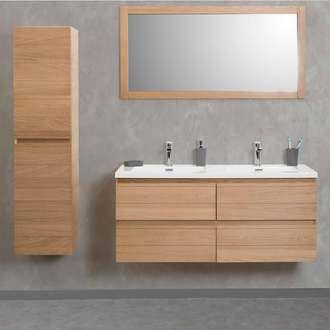 Meuble vasque en chªne avec colonne de salle de bain  suspendre